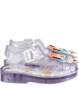 Clear kids sandals with pudding