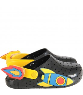 Black and yellow boy sandals with rocket