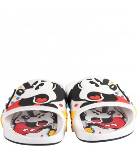 White kids sandals with Mickey Mouse
