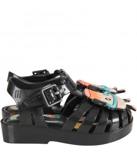 Black kids sandals with pudding