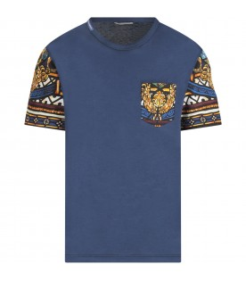 Blue T-shirt for boy witth colorful prints