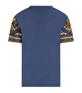 Blue boy T-shirt witth colorful prints