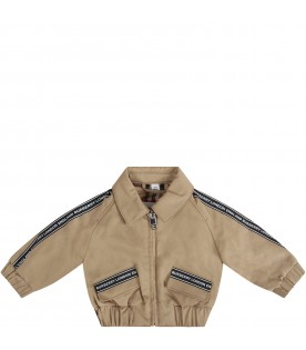 Beige bomber jacket for baby boy with logo