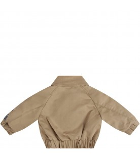 Beige babykids bomber jacket with logo