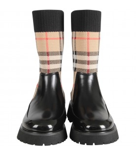 Black kids boots with vintage check