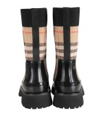 Burberry Kids Black kids boots with vintage check