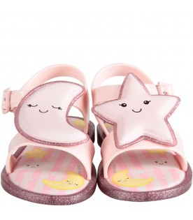 Pink girl sandals with star