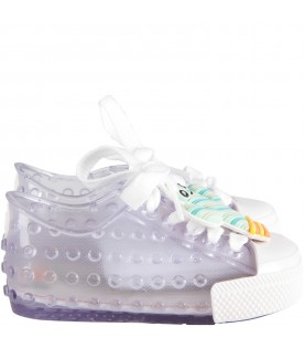 Clear girl shoes with colorful applications