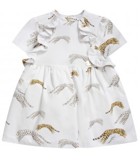 White babygirl dress with gold metallic logo