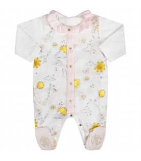 White and pink babygirl with colorful iconic prints