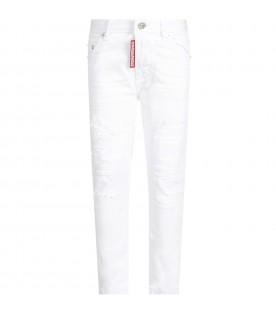 White jeans for boy with logo