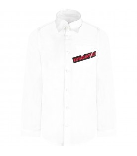 White boy shirt with red logo