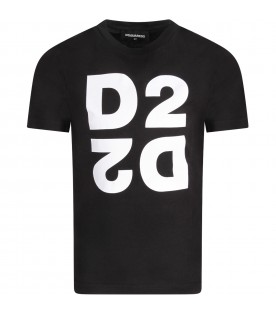 Black kids T-shirt with double logo