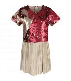 Red and gold girl dress with bow and sequins