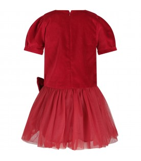 Red girl dress with metallic star