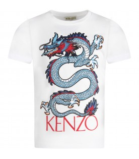 White boy T-shirt with colorful dragon