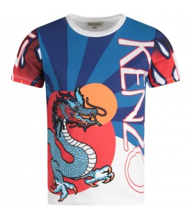 Color block boy T-shirt with colorful dragon
