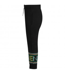 Black sweatpants with colorful logo for boy