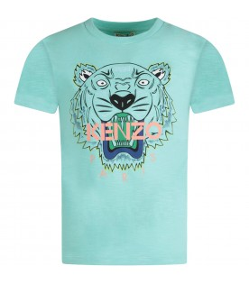 Aquamarine kids T-shirt with colorful tiger