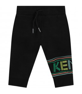 Black babykids sweatpants with colorful logo