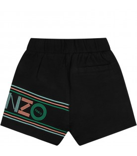 Black babykids short with colorful logo