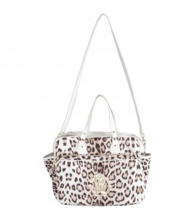 White babygirl changing bag with gold logo