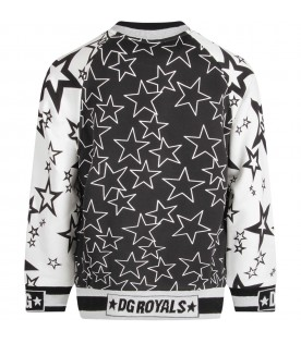 White and black boy sweatshirt with stars