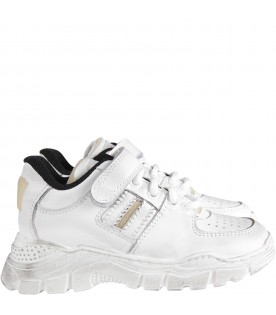 White kids sneaker with logo