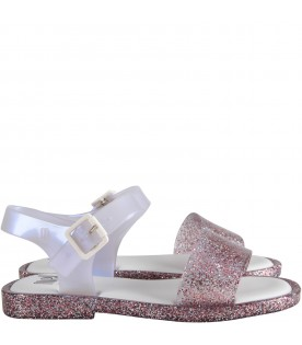 Pink and white girl sandals