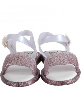 Pink and white sandals for girl