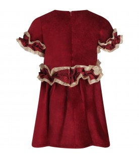 Red girl dress with iconic star and ruffle