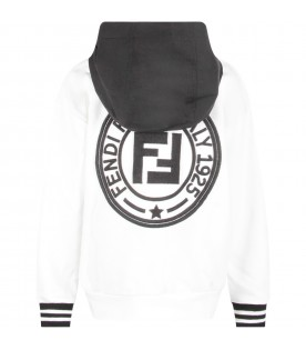 White sweatshirt with black double FF for boy