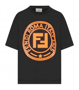 Black kids T-shirt with orange logo