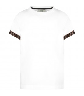 White kids T-shirt with double FF