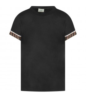 Black kids T-shirt with double FF
