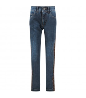 Denim jeans with double FF for kid