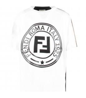 White and black kids T-shirt with double FF
