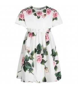 White girl dress with pink roses