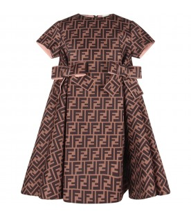Brown dress with FF for girl