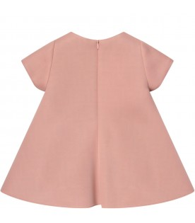 Pink dress with FF for baby girl