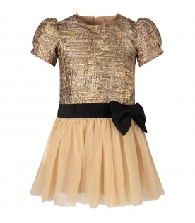 Gold dress for girl with metallic star and black bow