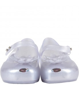 Clear girl ballerina flats with crystal ice