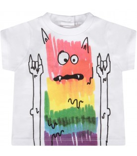 White babyboy t-shirt with colorful monster