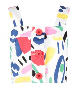 White top with colorful print for girl