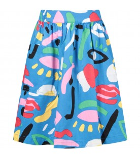 Azure skirt with colorful prints for girl
