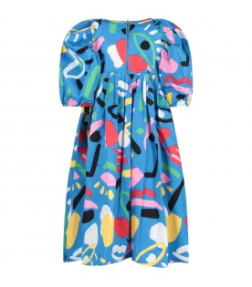 Azure girl dress with colorful prints