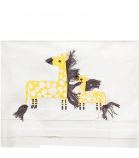 Ivory blanket with giraffes