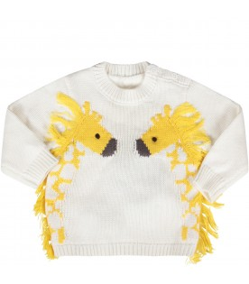 Ivory babyboy sweater with giraffes