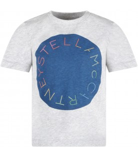Grey kids T-shirt with colorful logo