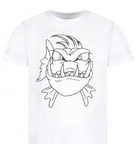 White boy T-shirt with piranha fish
